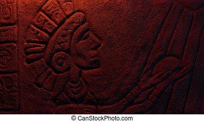 découpage, aztèque, lueur feu, rayons, soleil, roi