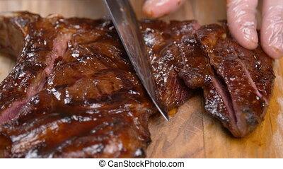 découpage, bois, concept., stand, cuisine, viande, planche