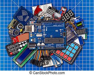 découpage, bouton, commutateurs, lieu travail, collage, câble, microcontroller, planche, capteur, bleu, mat, fil, concept, équipement, électronique, fond, accessoires, exposer