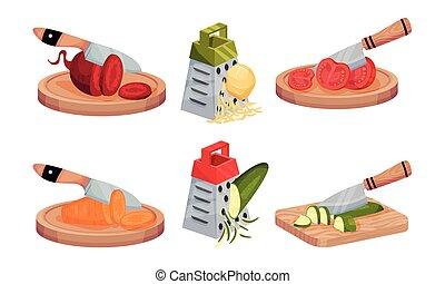 découpage, couteau, grille, légumes, ensemble, râpe, vecteur, cru
