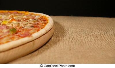 découpage, jambon, champignon, pizza