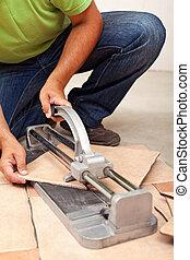 découpage, tuiles, céramique, ouvrier, plancher