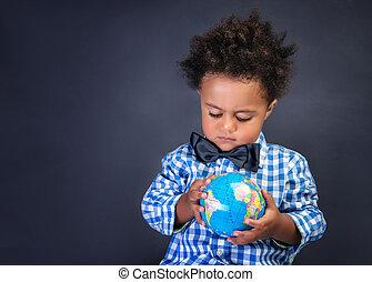 découvrir, preschooler, heureux, mondiale