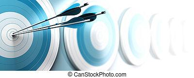 dédié, effet, une, stratégique, cibles, bleu, banner., atteindre, trois, palîr, barbouillage, blanc, image, business, format, commercialisation, horizontal, centre, beaucoup, flèches, com, ou, premier