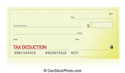 déduction, impôt, chèque, banque