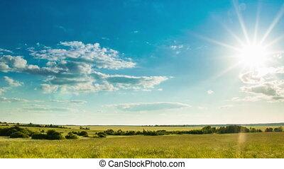 défaillance, coucher soleil, pré, temps