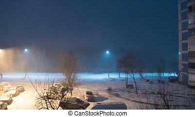 défaillance, neige, contre, chutes, rue, réverbère, fond, temps, night.