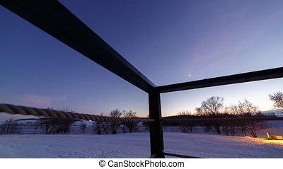 défaillance, night., temps, hiver, paysage., neige-couvert, sehas, jour
