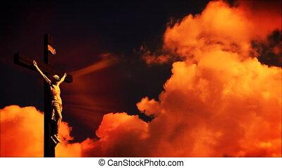défaillance, temps, ciel, croix, jésus