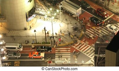 défaillance temps, film, cross-walk, tokyo
