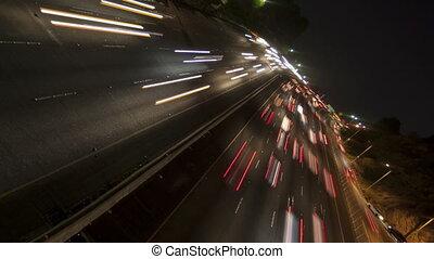 défaillance temps, lumière, tourner, autoroute