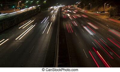 défaillance temps, zoom, lumière, autoroute, dehors