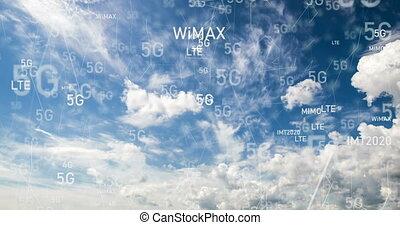 défaillance, voler, nuages, appareil photo, par, temps, mouvement
