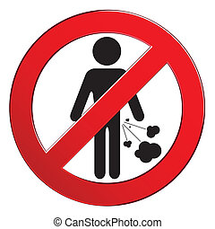 défendre, gens, farting, signe