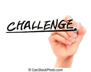 défi, 3d, mot, écrit, main