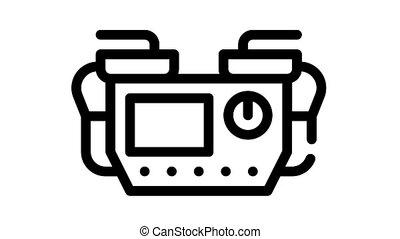 défibrillateur, animation, icône, monde médical, noir, équipement