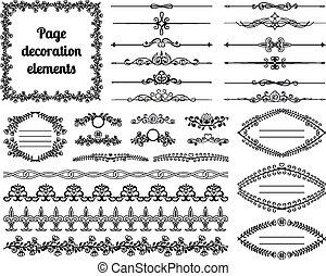 défilements, diviseurs, vignettes, decoration., calligraphic, éléments, conception, cadres, frontières, page
