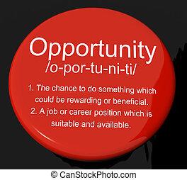 définition, carrière, bouton, possibilité, chance, position, occasion, ou, spectacles