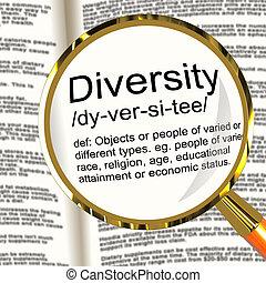 définition, différent, diversité, course, mélangé, loupe, divers, spectacles