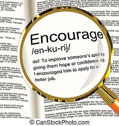 définition, motivation, encourager, réassurance, loupe, spectacles, inspiration