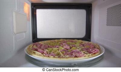 dégivrer, jambon, surgelé, intérieur, four micro-ondes, cru, pizza, vue