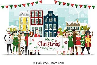 déguisement, adolescents, année, concept, tenue, groupe, nouveau, texte, heureux, 1, planche, joyeux noël