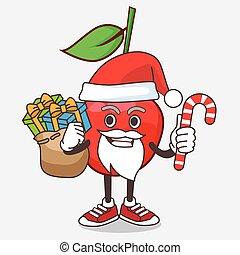 déguisement, bing, caractère, dessin animé, mascotte, bonbon, santa, cerise