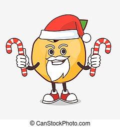 déguisement, caractère, bonbon, dessin animé, santa, mascotte, abricot