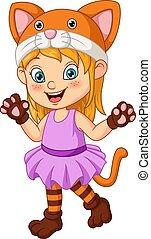 déguisement, chat, peu, dessin animé, porter, girl, halloween
