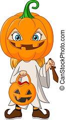 déguisement, citrouille, girl, dessin animé, halloween, porter, peu