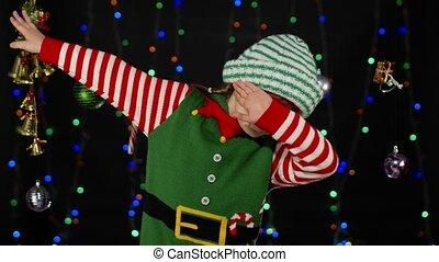 déguisement, danse, gosse, projection, elfe, petit morceau, girl, noël, santa, assistant, adolescent, claus, geste, danse
