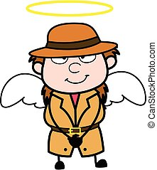 déguisement, dessin animé, détective, ange