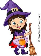 déguisement, girl, dessin animé, halloween, porter, peu, sorcière