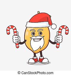 déguisement, mascotte, citron, fruit, dessin animé, santa, caractère, bonbon