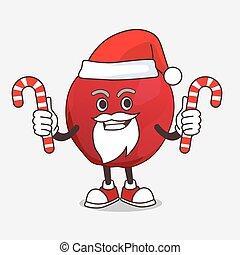 déguisement, pomme, mascotte, bonbon, caractère, santa, dessin animé