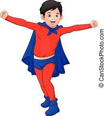 déguisement, porter, mignon, garçon, superhero
