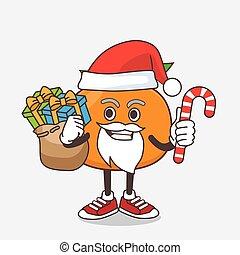 déguisement, santa, bonbon, orange, dessin animé, mandarin, mascotte, caractère