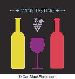 dégustation, carte, deux, jaune, r, vin