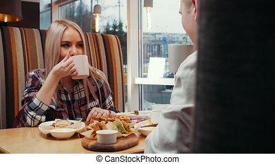 déjeuner, café, couple, avoir, mignon
