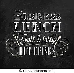déjeuner, craie, business