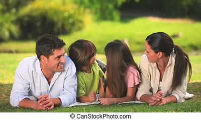 délassant, famille, herbe