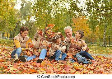 délassant, famille, heureux
