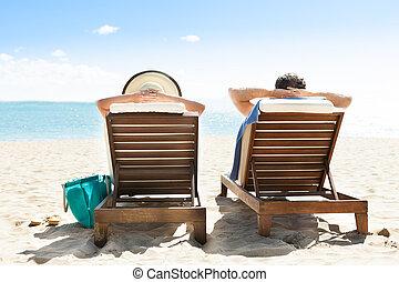 délassant, pont préside, couple, recours, plage