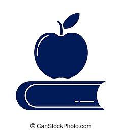 délicieux, pomme, style, livre, icône, fermé, silhouette