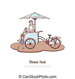 délicieux, rafraîchissement, vente, enfant, doux, dessert, bannière, laitage, nourriture, rue, femme, été, vendeur, peu, tablier