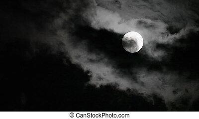 déménagement hors, nuages, super, lune