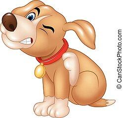 démangeaison, dessin animé, chien, grattement