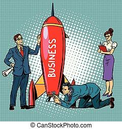 démarrage, lancement fusée, business, hommes affaires, femmes affaires
