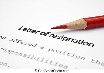 démission, lettre