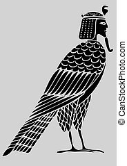 démon, oiseau, -, âmes, égyptien